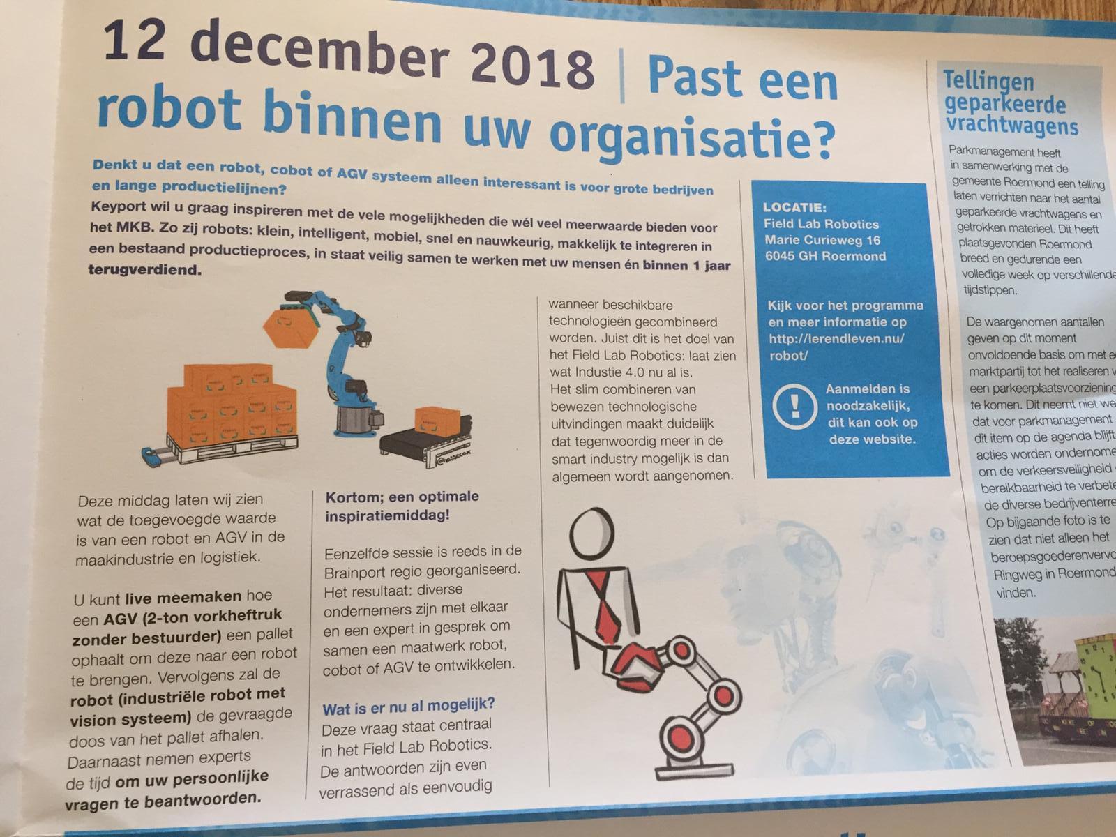 """12 december 2018 - Past een robot binnen uw organisatie?"""" artikel in de krant van Parkmanagement Midden-Limburg"""